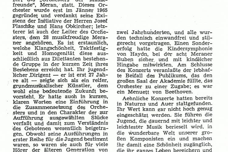 Rezension Dolomiten 03.05.1967