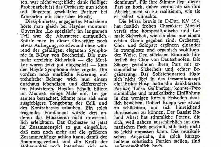 Rezension Dolomiten 05.03.1969