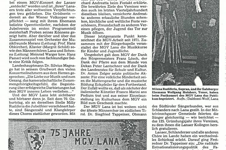 Rezension Dolomiten 08.05.1985
