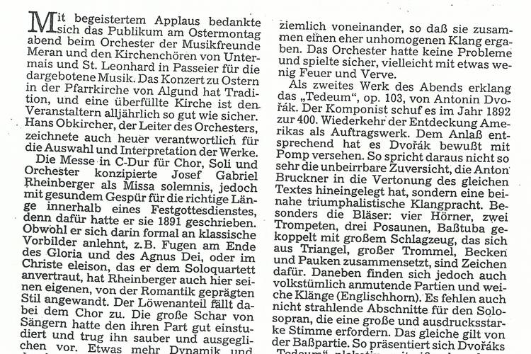 Rezension Dolomiten 08.05.1993