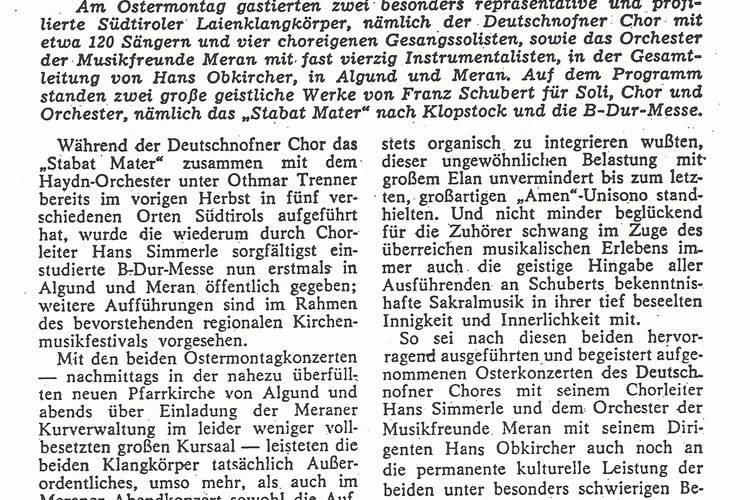 Rezension Dolomiten 09.04.1975