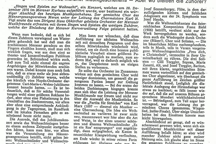 Rezension Dolomiten 10.01.1977