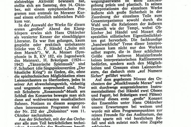 Rezension Dolomiten 17.10.1967