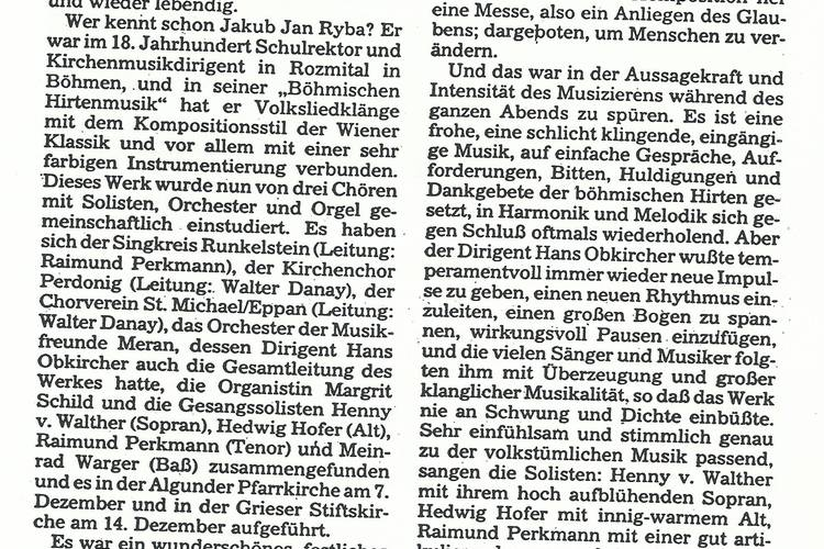 Rezension Dolomiten 21.12.1985