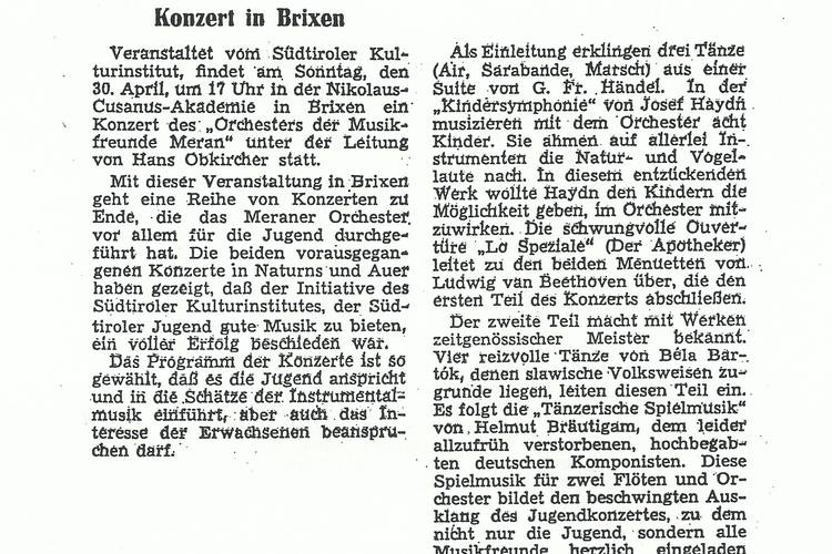 Rezension Dolomiten 27.04.1967